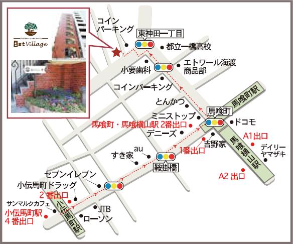 ist Village東京までのMAP