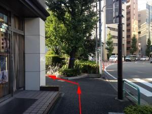 突き当りに、イチョウの木があるので、左に曲がる