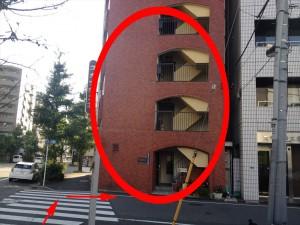 正面に赤レンガ色のビルが見えます