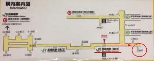 改札突きあたりの構内地図