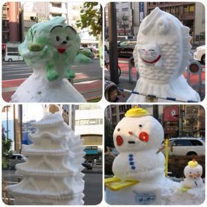 タイ焼き・キャベツ・江戸城・・・全部雪で作られています