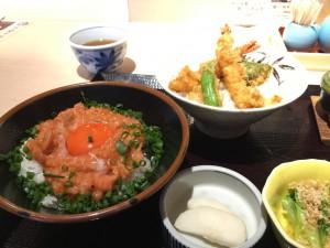 魚釜のランチメニュー2色丼